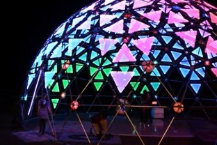 Image from Make Magazine - 40 Foot Geodesic Dome Looks Amazing Lit Up