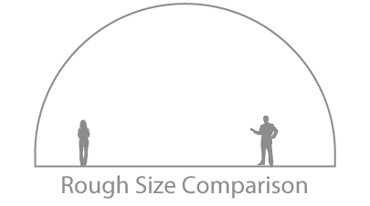 Image of a size comparison between an average human man and the Radiance Dome.
